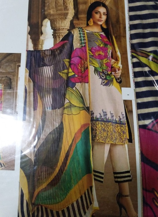 Multicolor Satin Cotton Printed Party Wear Pakistani Suit Samina 129
