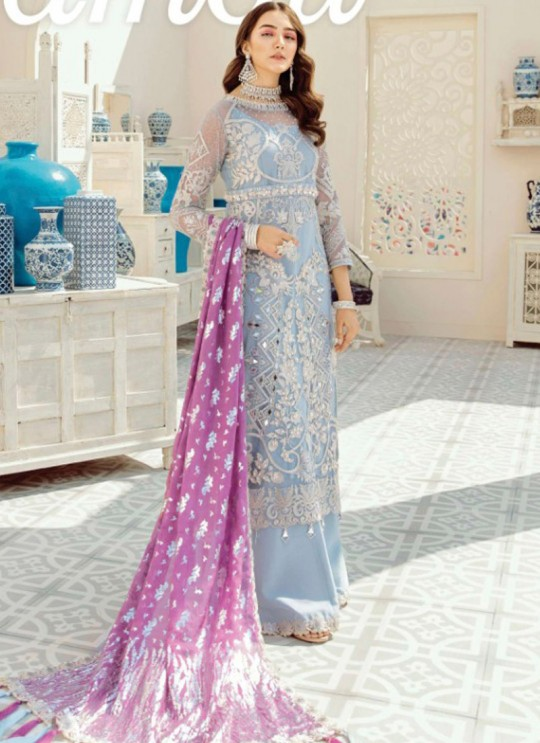 Grey Net Designer Pakistani Suit Imrozia By Kilruba 34001