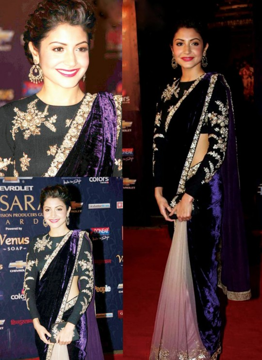 Anushka Sharma Custom Made Silk & velvet Bollywood Style Saree 101