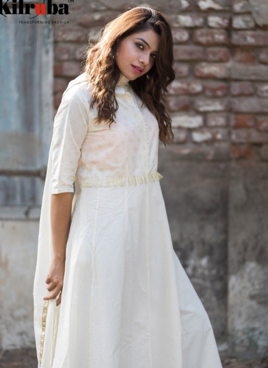 White Cotton Embroidered Floor Length Kurti A7 By Kilruba
