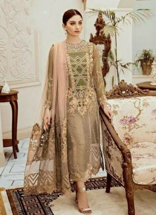 Beige Net Designer Salwar Kameez Mix Hit Suits By Kilruba SC018198