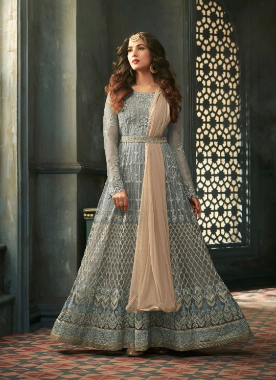 Grey Net Floor Length Anarkali Tihor 5303A Color By Maisha