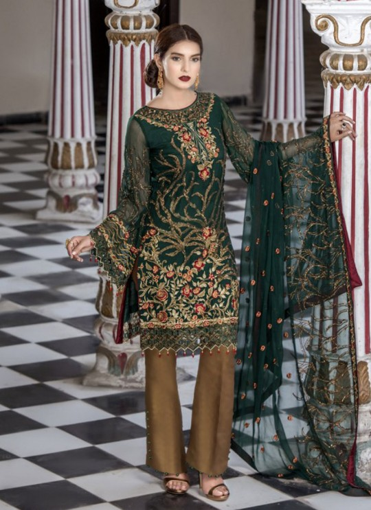 Green Net Embroidered Party Wear Salwar Suit Maryams 1002 By Volono Trendz SC/011212