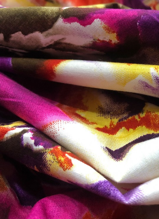 Multicolor Musk Cotton 100X100 Weaving Printed Fabric 112