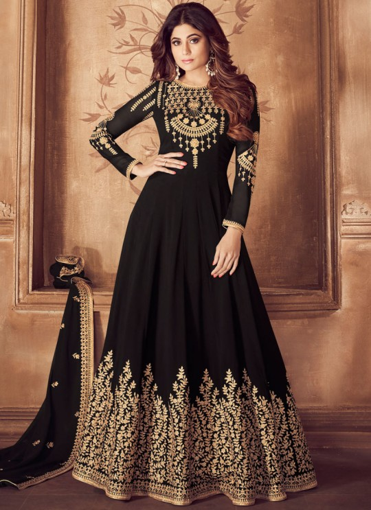 Georgette Embroidered Floor Length Anarkali For Indian Wedding In Black Color Riona Gold 8201 Colors 8201A Colour By Aashirwad Creation SC/015490