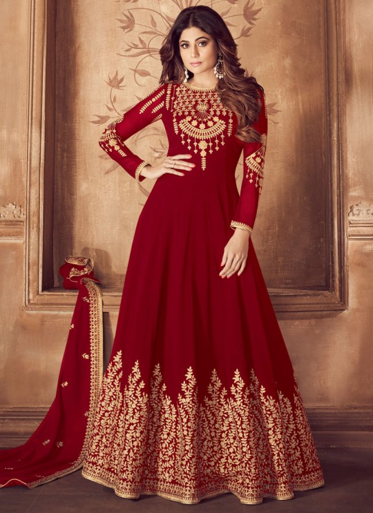 Embroidered Pure Georgette Floor Length Anarkali For Indian Wedding Party In Red Color Riona Gold 8201B