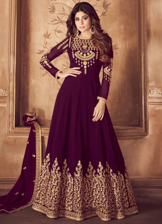 Pure Georgette Floor Length Anarkali For Mehandi Ceremony In Purple Color Riona Gold 8201 Colors 8201C Colour By Aashirwad Creation SC/015492
