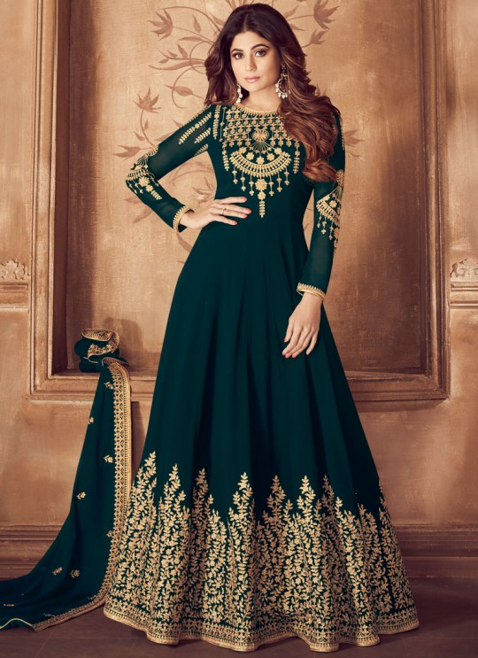 Georgette Embroidered Floor Length Anarkali For Ring Ceremony In Teal Green Color Riona Gold 8201 Colors 8201D Colour By Aashirwad Creation SC/015493