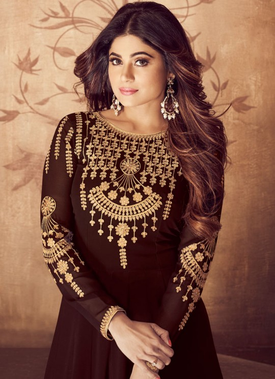 Riona Gold 8201 Colors 8201E Colour By Aashirwad Creation Pure Georgette Embroidered Floor Length Anarkali For Ceremony In Brown Color SC/015494