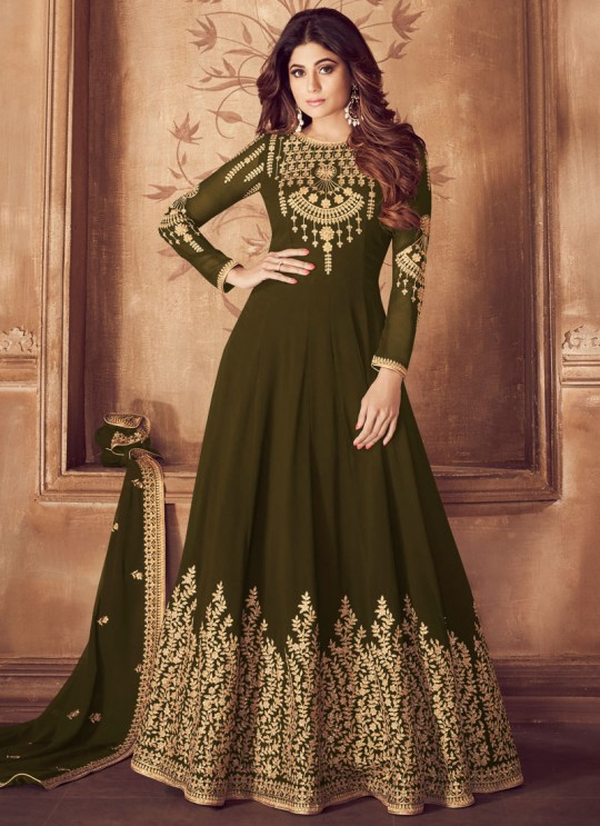 Riona Gold 8201 Colors 8201F Colour By Aashirwad Creation Pure Georgette Embroidered Floor Length Anarkali For Ceremony In Olive Color SC/015495