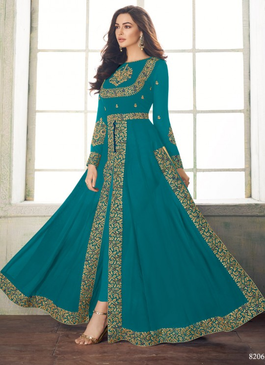 Splendid Party Wear Pakistani Suit In Sea Green Color Anaya Gold 8206A Colour By Aashirwad SC/015729