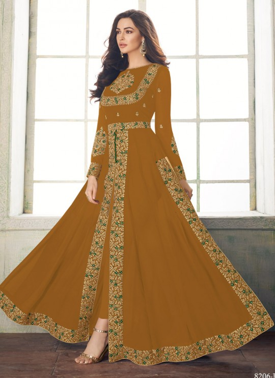 Magnificent Party Wear Pakistani Suit In Gold Color Anaya Gold 8206B Colour By Aashirwad SC/015719