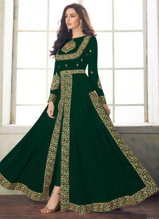 Classic Party Wear Pakistani Suit In Dark Green Color Anaya Gold 8206C Colour By Aashirwad SC/015720