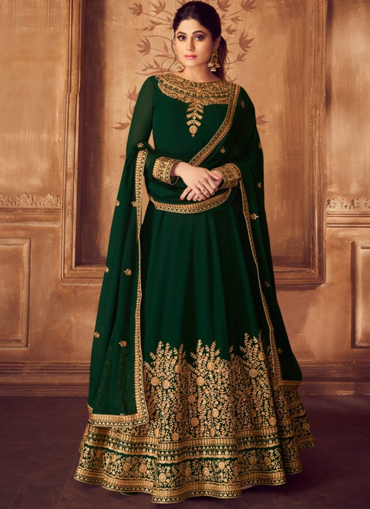 Green Georgette Ceremony Floor Length Anarkali Anarkali 8227 By Aashirwad Creation SC/016036
