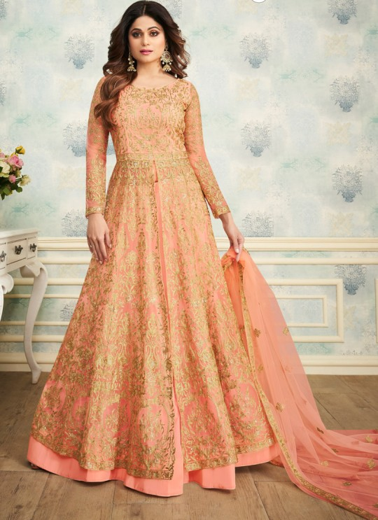 Peach Net Wedding Skirt Kameez Sheesh Mahal 8249 By Aashirwad Creation SC/016049