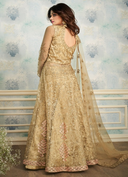 Beige Net Wedding Skirt Kameez Sheesh Mahal 8250 By Aashirwad Creation SC/016050