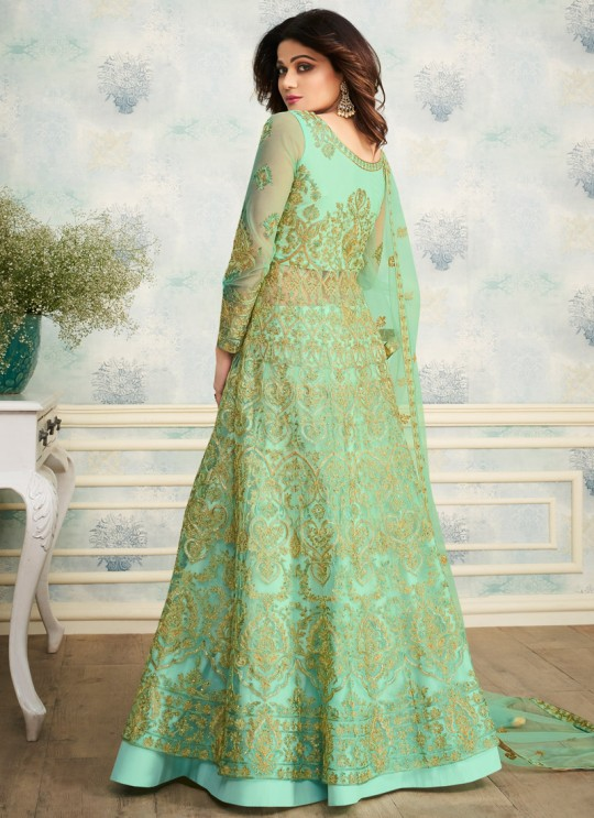 Green Net Wedding Skirt Kameez Sheesh Mahal 8251 By Aashirwad Creation SC/016051
