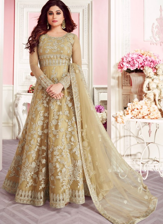 Beige Net Wedding Floor Length Anarkali Sufian 8265 By Aashirwad Creation SC/015984