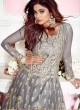 Grey Net Wedding Floor Length Anarkali Sufian 8266 By Aashirwad Creation SC/015985