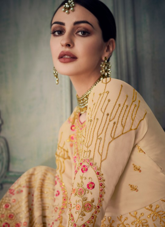 Spectacular Beige Georgette Sharara Suit For Bridesmaids Simona Sarara 8268 By Aashirwad Creation SC/015862