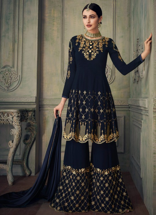 Gorgeous Georgette Party Wear Sharara Suit For Bridesmaids in Navy Blue Simona Sarara 8269 By Aashirwad Creation SC/015863