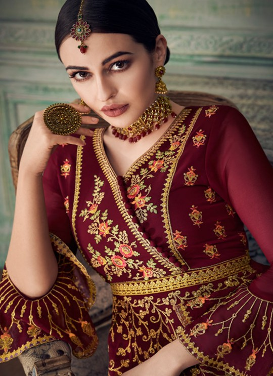 Spacious Maroon Georgette Sharara Suit For Bridesmaids Simona Sarara 8272 By Aashirwad Creation SC/015866