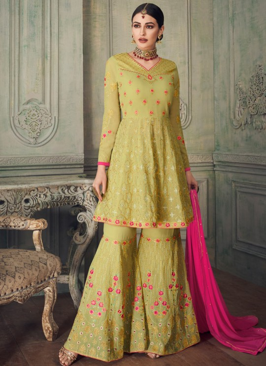 Majestic Pista Georgette Sharara Suit For Bridesmaids Simona Sarara 8273 By Aashirwad Creation SC/015867