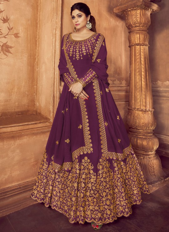 Purple Georgette Floor Length Anarkali Suit Anarkali 8229A By Aashirwad Creation SC/016731