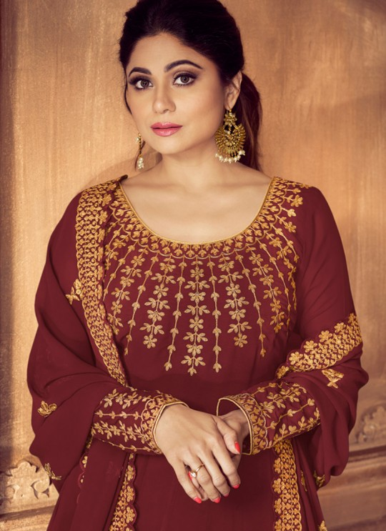 Maroon Georgette Floor Length Anarkali Anarkali 8229C By Aashirwad Creation SC/016733