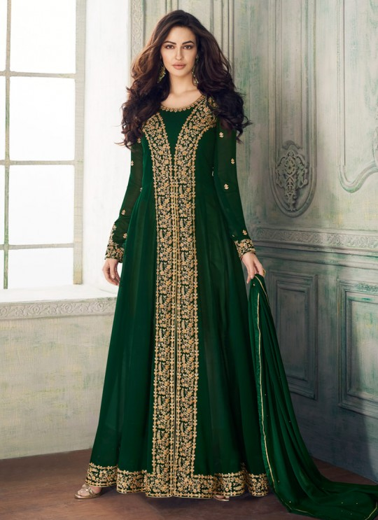 Green Georgette Embroidered Eid Wear Pakistani Suits Anaya 8202 By Aashirwad Creation SC/015175