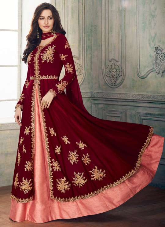Maroon Georgette Embroidered Eid Wear Skirt Kameez Anaya 8205 By Aashirwad Creation SC/015178