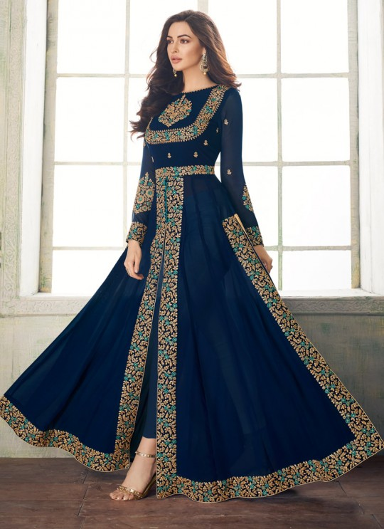 Royal Blue Georgette Embroidered Eid Wear Pakistani Suits Anaya 8206 By Aashirwad Creation SC/015179