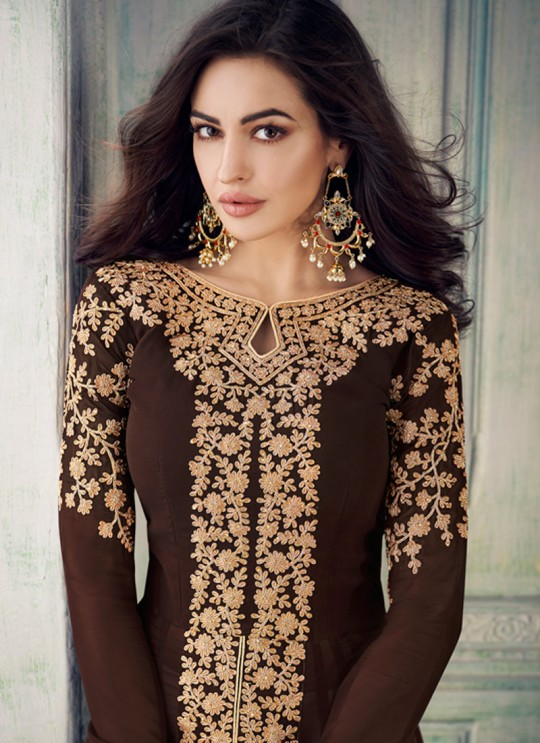 Brown Georgette Embroidered Eid Wear Pakistani Suits Anaya 8207 By Aashirwad Creation SC/015180