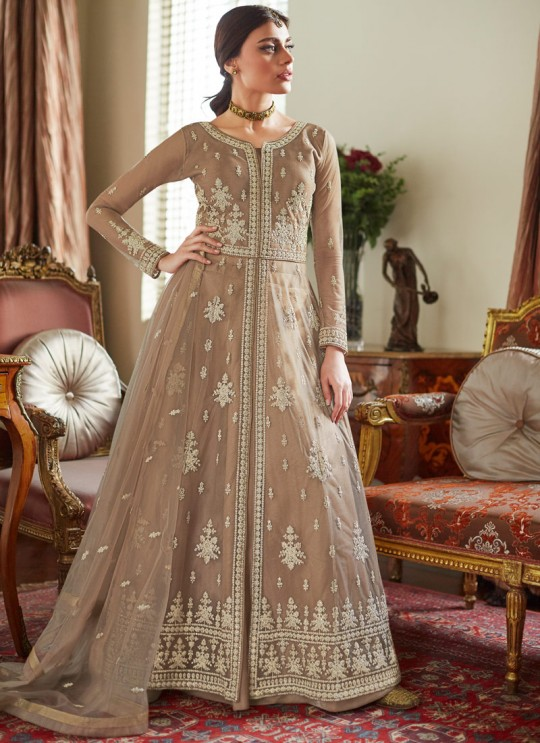 Beige Net Wedding Ghagra Suit Celebration 7039 By Aashirwad Creation SC/016555