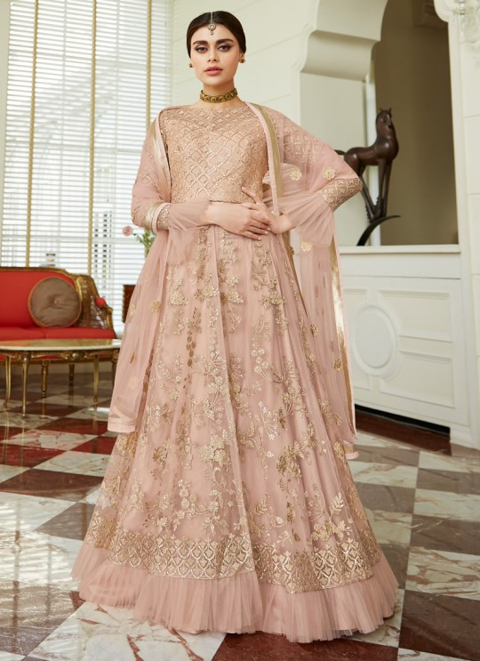Net Wedding Floor Length Anarkali In Dusty Pink Color Celebration Gold 7037A SC/017089