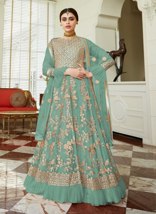 Net Wedding Floor Length Anarkali In Teal Blue Color Celebration Gold 7037B SC/017090