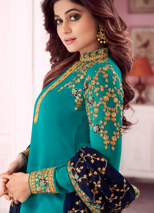 Teal Blue Georgette Churidar Suit With Heavy Dupatta Classic 8280 By Aashirwad
