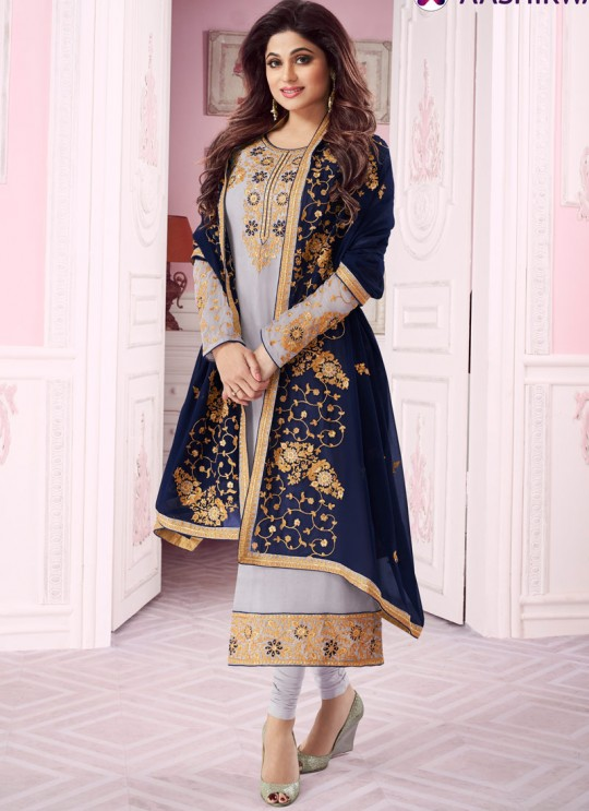 Light Grey Georgette Churidar Suit With Heavy Dupatta Classic 8281 By Aashirwad