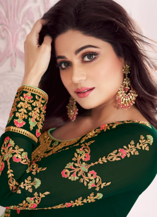 Green Georgette Churidar Suit With Heavy Dupatta Classic 8282 By Aashirwad