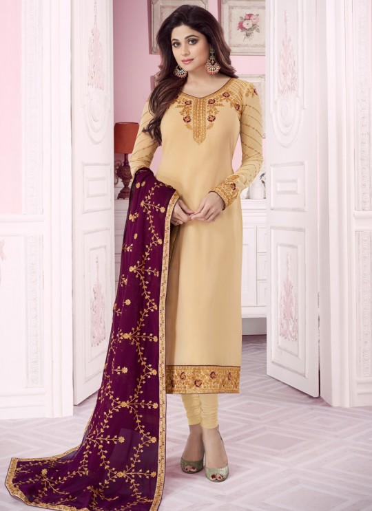 Gold Georgette Churidar Suit With Heavy Dupatta Classic 8283 By Aashirwad