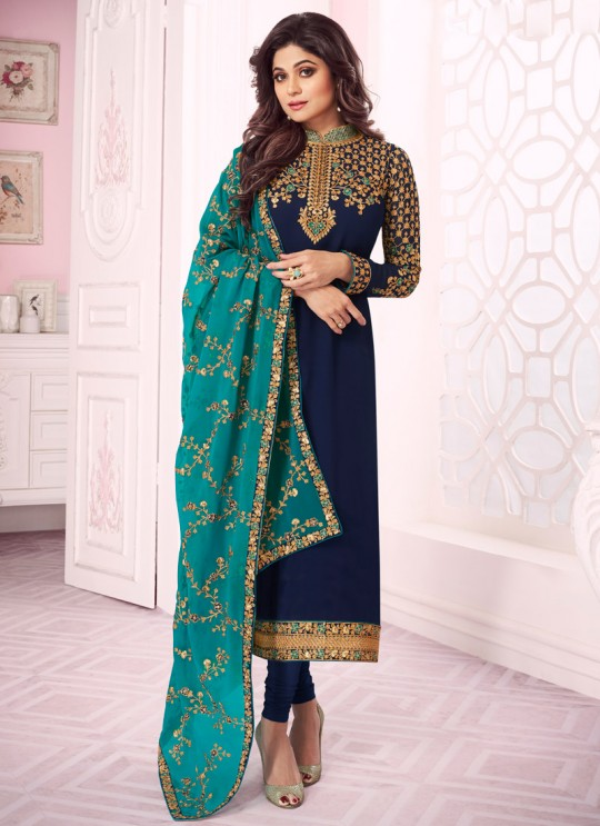 Royal Blue Georgette Churidar Suit With Heavy Dupatta Classic 8284 By Aashirwad