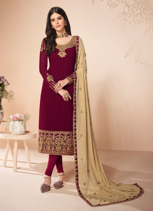 Magenta Georgette Embroidered Churidar Suit Cross Stitch 7054 By Aashirwad  SC/016666