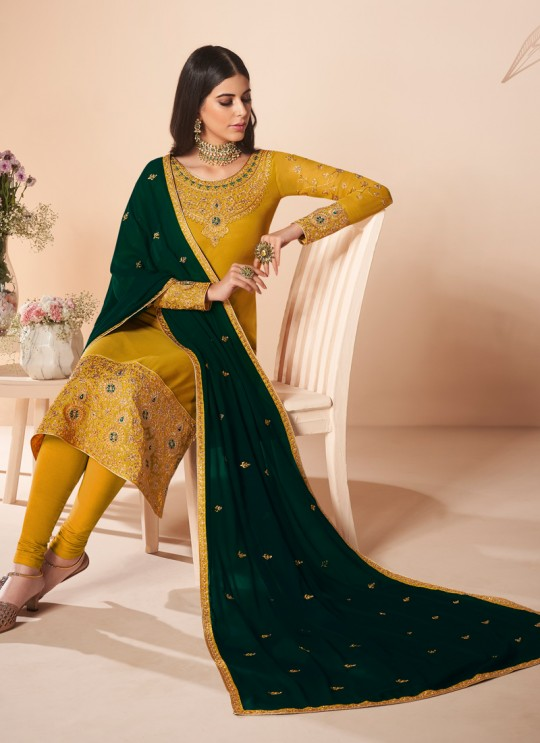 Yellow Georgette Embroidered Churidar Suit Cross Stitch 7055 By Aashirwad  SC/016667