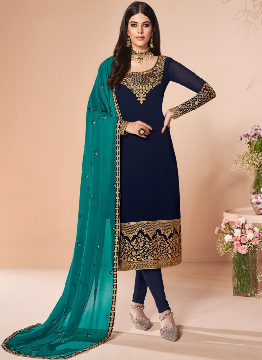 Blue Georgette Embroidered Churidar Suit Cross Stitch 7056 By Aashirwad  SC/016668