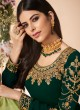 Green Georgette Embroidered Churidar Suit Cross Stitch 7058 By Aashirwad  SC/016670