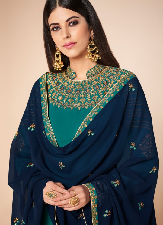 Teal Blue Georgette Embroidered Churidar Suit Cross Stitch 7059 By Aashirwad  SC/016671
