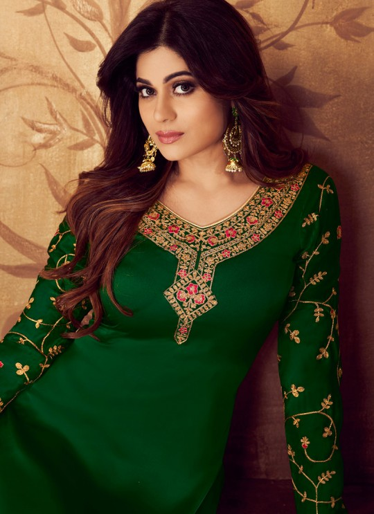 Embroidered Georgette Palazzo Suits For Ring Ceremony In Green Color Falak 8208 By Aashirwad Creation SC/015423
