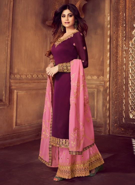 Pure Georgette Embroidered Palazzo Suits For Ring Ceremony In Purple Color Falak 8210 By Aashirwad Creation SC/015425