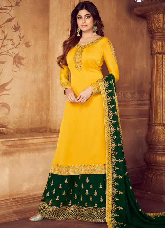 Pure Georgette Embroidered Palazzo Suits For Ring Ceremony In Yellow Color Falak 8211 By Aashirwad Creation SC/015426