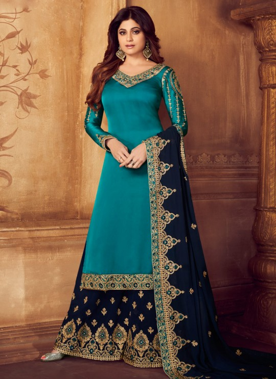 Pure Georgette Embroidered Palazzo Suits For Ring Ceremony In Turquoise Color Falak 8212 By Aashirwad Creation SC/015427